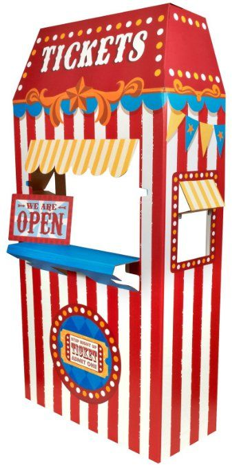 """PHOTOS and/or DECORATIONS: Ticket Booth Cardboard Stand FOR A KID (36"""")  This thing is only $40!! I would think it would be a lot more than that!"""