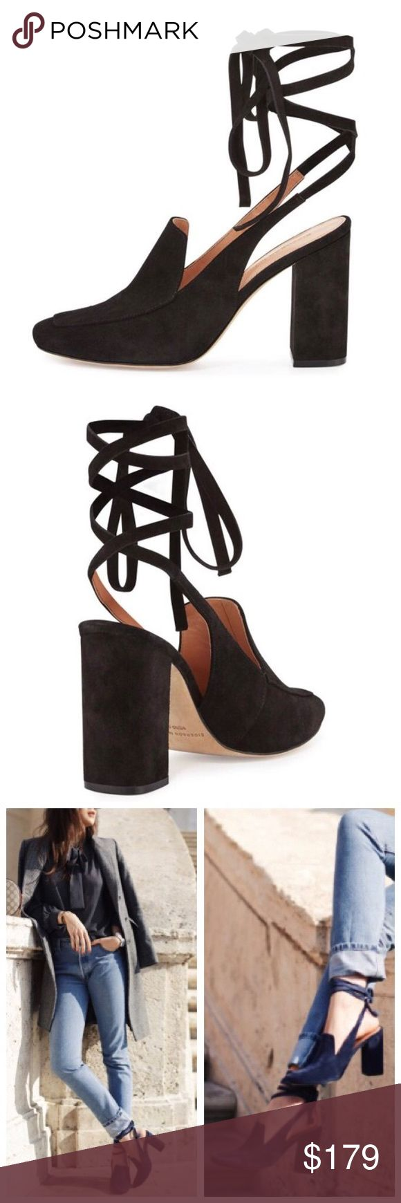 """Sigerson Morrison Black Posie Suede Lace Up Mule Sister to the Bena, the Posie is a backless suede mule detailed with a squared-off toe, a covered block heel and a wraparound lace-up closure. New without box.  3.8"""" covered block heel. Apron toe. Notched vamp. Self-tie ankle wrap. Smooth outsole. 💕Offers welcome on single items and on bundles. Take 20% off your bundles automatically at check out. Happy Poshing!💕 Sigerson Morrison Shoes Mules & Clogs"""