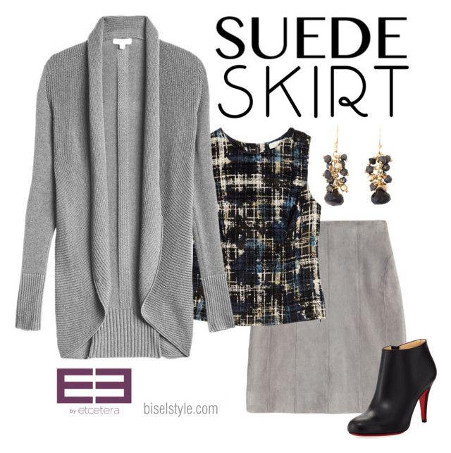 Diesel grey cardigan, Indulge navy and black velvet burnout top, Mood grey suede skirt - Etcetera Winter '17 by biseletcetera on Polyvore