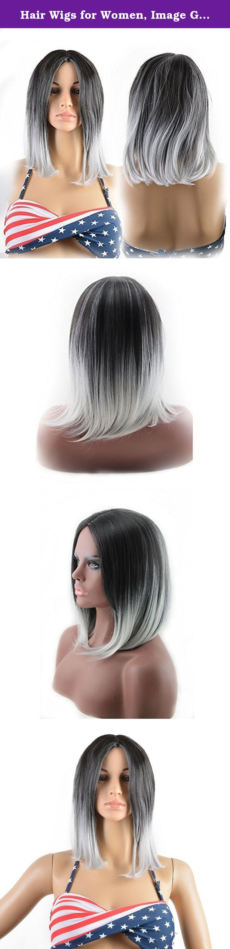 Hair Wigs for Women, Image Gradient Color Hair Extensions, Long Full Straight GREY + WHITE Wig with Wig Cap, Wig Comb and Rubber Band. IMAGE - Bring Your Beauty Salon Home! IMAGE Wigs - New Wigs, New Feelings, New You! What's the difference between IMAGE WIG and the others: (1) we adopted 100% Matt high temperature fiber which is the best fiber material for wig. Its physical properties, appearance, color and natural. (2) The wave and curls of the hair are specially designed to look...