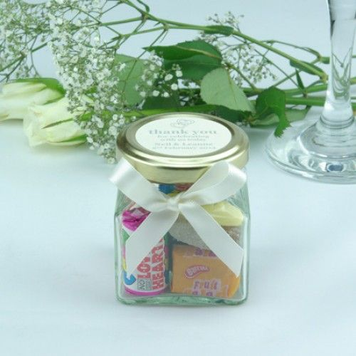 Wedding Favour Glass Sweet Jars with Lid Label