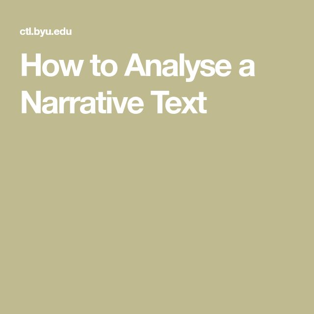 How to Analyse a Narrative Text