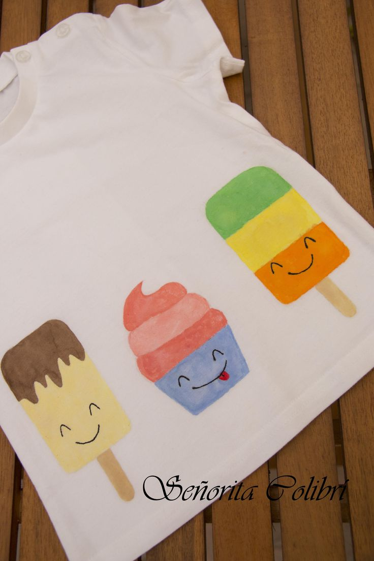 Camiseta pintada a mano ¡Al rico helado!