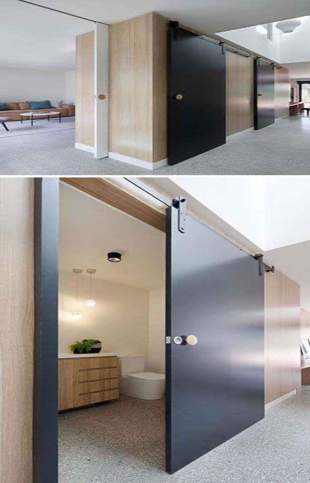 25 ไอเด ย แบบประต แขวนบานเล อน หลากหลายสไตล Ihome108 Modern Houses Interior Sliding Barn Door Bathroom House Interior