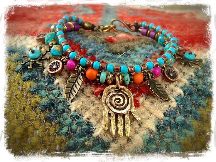 Healing HAND BRACELET Hamsa Hand Fatima bracelet Oriental Hippie Gypsy stackable bracelet Rainbow Turquoise Sun Bohemian jewelry GPyoga by GPyoga on Etsy https://www.etsy.com/listing/206317969/healing-hand-bracelet-hamsa-hand-fatima