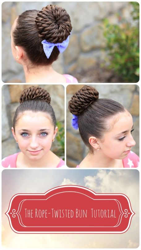 Rope Twisted Pinwheel Bun | Updo Hairstyle and more Hairstyles from CuteGirlsHairstyles.com