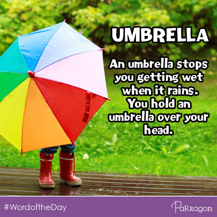 Today's #WordoftheDay for children is 'UMBRELLA'. An umbrella stops you getting wet when it rains. Did you have to use your umbrella at the weekend?