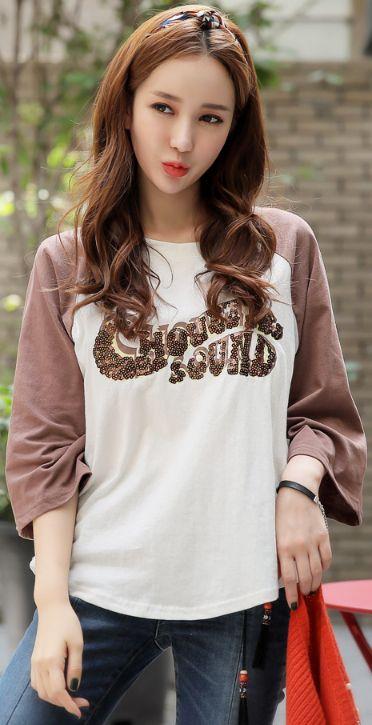 StyleOnme_Sequined Lettering T-shirt #brown #sequin #tee #koreanfashion #kstyle #kfashion #falltrend #dailylook