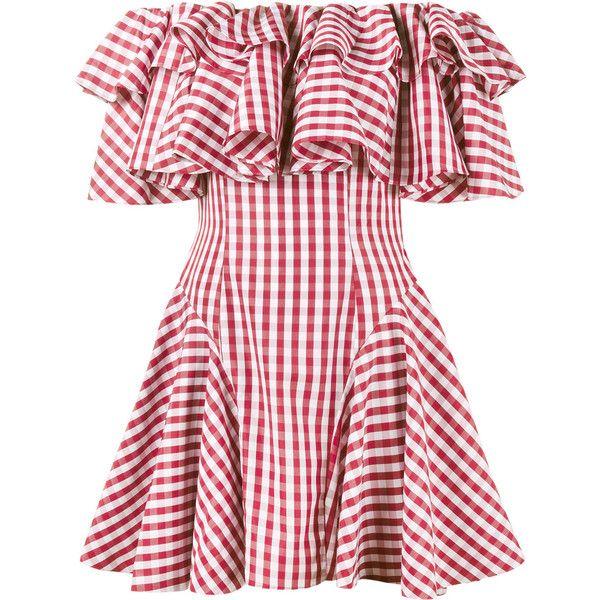 House Of Holland gingham off shoulder dress (620 BRL) ❤ liked on Polyvore featuring dresses, vestidos, red, off the shoulder day dress, red dress, house of holland, off the shoulder dress and gingham dress