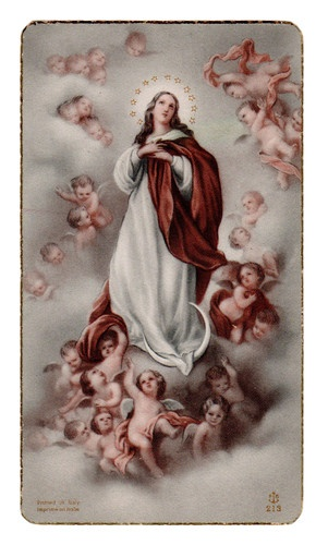Vintage Holy Card Virgin Mary with The Angels Printed in Italy