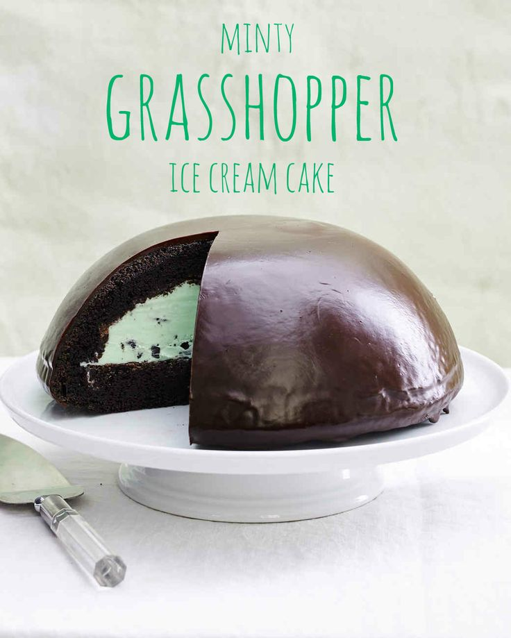 This stunning grown-up ice cream cake features homemade chocolate cake that's stuffed with mint chocolate chip ice cream to mimic the flavor of a Grasshopper cocktail. It's finished with a shiny chocolate shell.