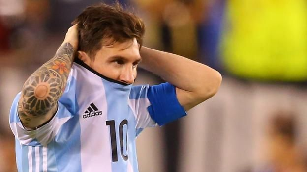 """Argentina and Barcelona forward Lionel Messi, 29, retires from international football after missing in a penalty shootout...... On top of everything, I missed the penalty kick,"""" said Messi, after the match"""