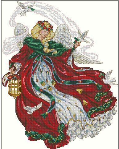 Hobby lavori femminili: Schema punto croce - Angelo con le colombe