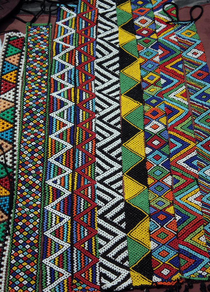 Colourful, zigzag patterned African beadwork. Durban, South Africa. Photo Clive Reid.