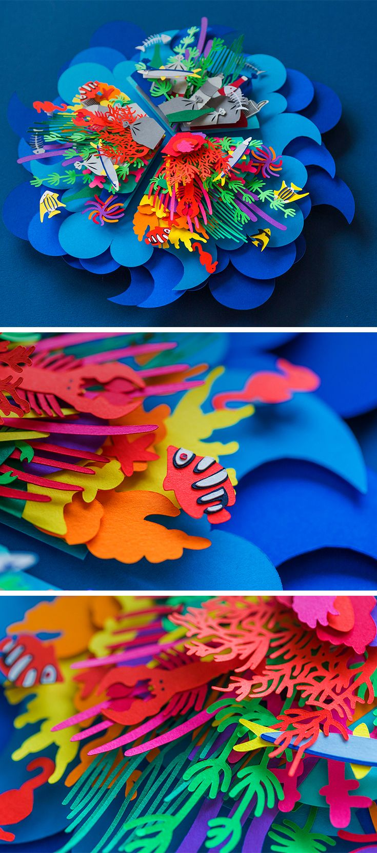 Click for more pics! | Colorful Layered Paper Cut #Poster Depicting Ocean Pollution by Aline Houdé-Diebolt #paperart