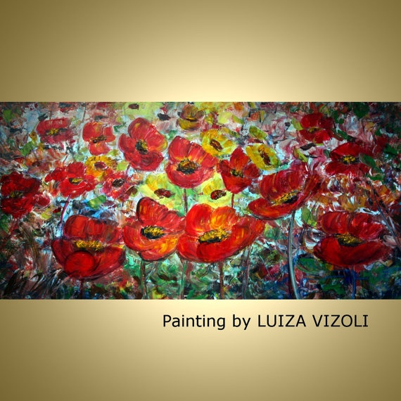 Original Modern Abstract large Textured Flowers by LUIZAVIZOLI, $349.00