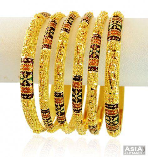 22k Gold Designer Meena Bangles Set
