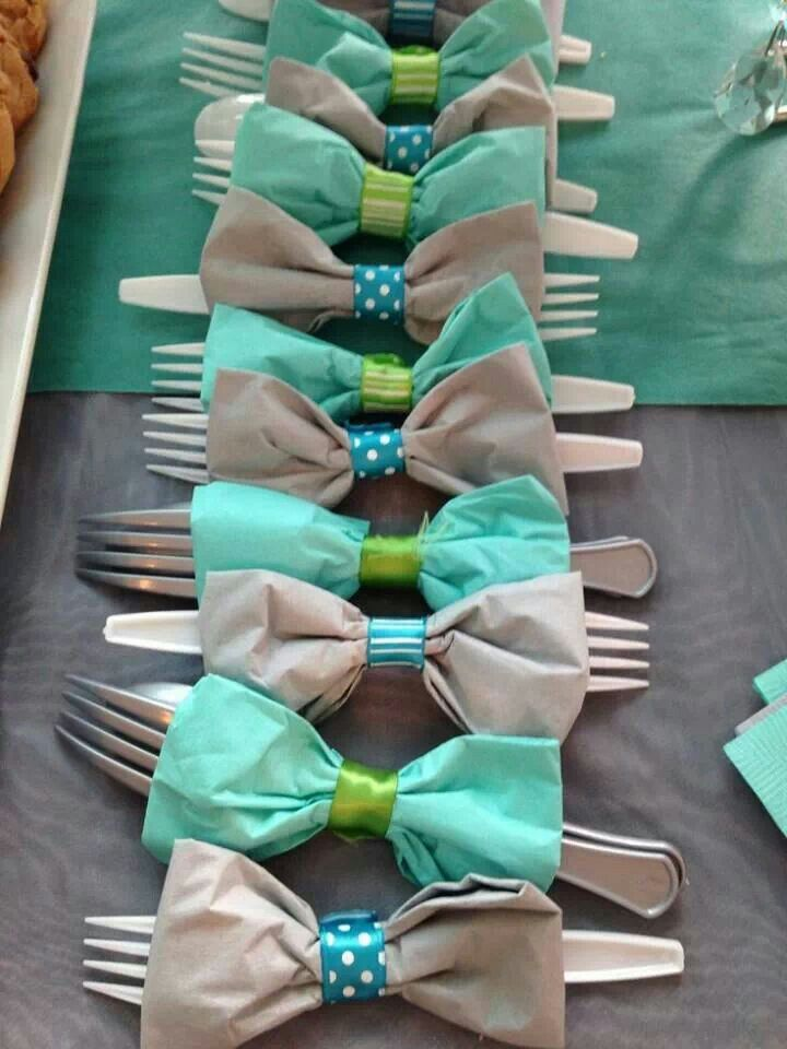 Cute bowtie napkins. Would be cute for a baby boy shower