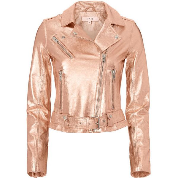 Iro Brooklyn Rose Gold Leather Moto Jacket ($1,295) ❤ liked on Polyvore featuring outerwear, jackets, metallic and iro jacket