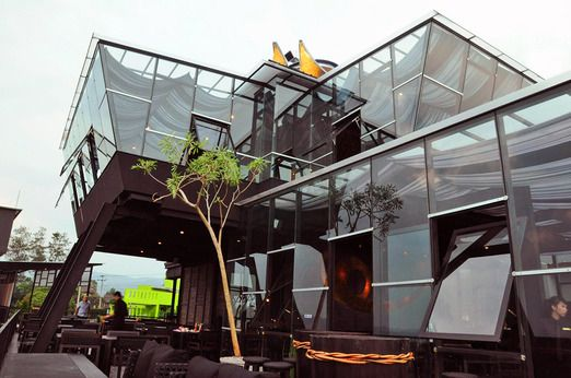 The futuristic shape of the building at Takigawa Meat Bar in the Skye. Photo courtesy of Takigawa via The Jakarta Post T...