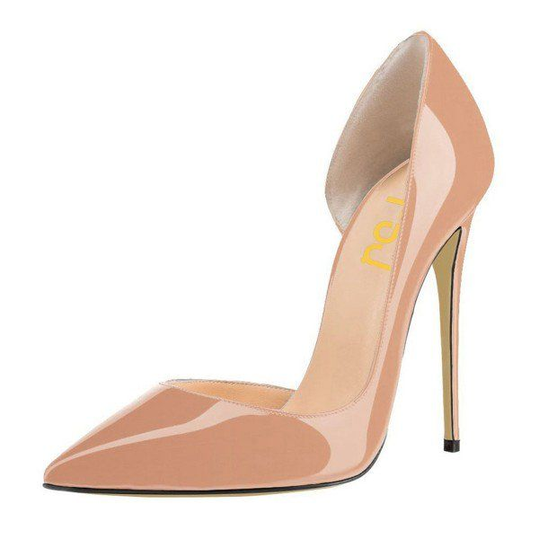 Blush Heels Patent Leather Nude D'orsay Pumps Stiletto Heels image 1