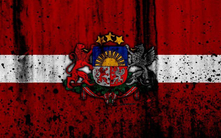 Download wallpapers Latvian flag, 4k, grunge, flag of Latvia, Europe, Latvia, national symbolism, coat of arms of Latvia, Latvian coat of arms