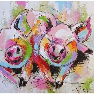 Ik vond dit op Beslist.nl: schilderij varkens 120 x 120 cm