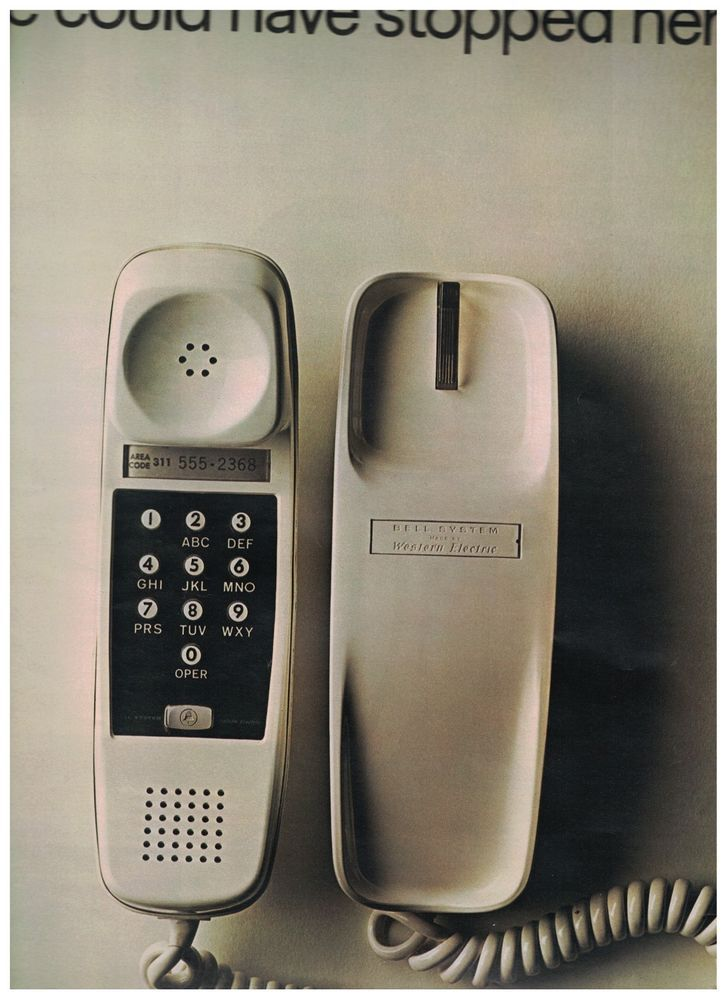 1968 AT&T Bell System Ad - Trimline Pushbutton Phone And Future Predictions    #BellTelephoneSystem