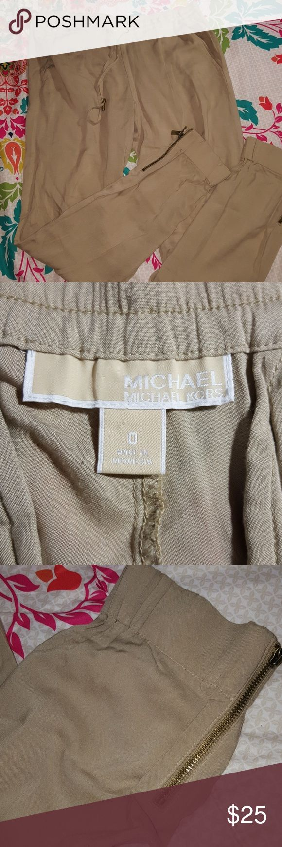 MICHAEL Michael Kors Dressy Joggers Brand: Michael Kors Size: 0 Color: Tan Style: Joggers With Zipper Ankle  Buyers can expect: Careful packaging, Fast shipping, & Delivery confirmation with each item purchased! PET FREE HOME & SMOKE-FREE HOME. MICHAEL Michael Kors Pants Track Pants & Joggers