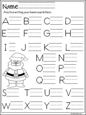 Free Santa capital letter writing practice page.  Terrific for Christmas and December for beginning writers in preschool and Kindergarten.