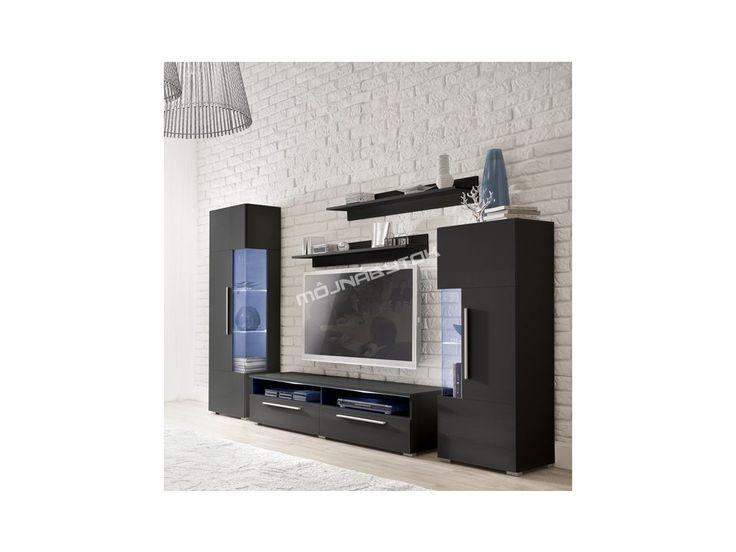 Nadčasová, veľmi moderná obývacia stena v čiernom prevedení vysokého lesku.