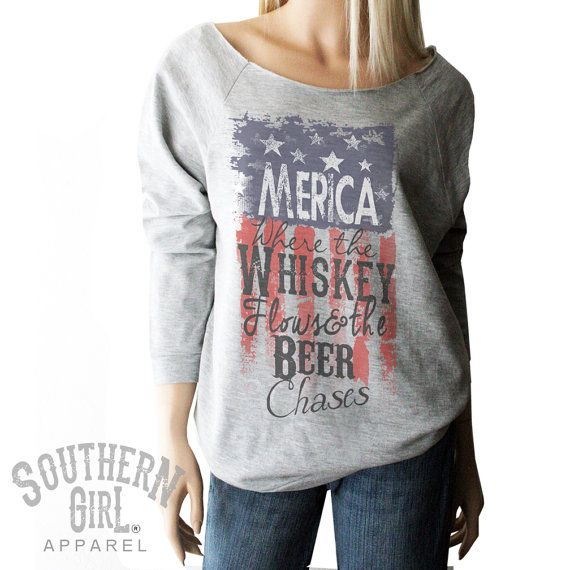 Merica Whiskey Flag Shirt. Red White & Blue by SouthernGirlApparel
