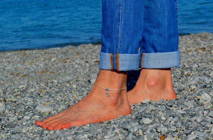 Anchor anklet for men men's anklet with a silver anchor