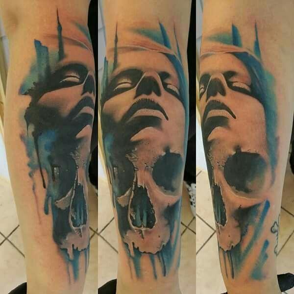 Face realistic tattoo,portraits,colour tattoo, tattoo andel chrudim, skull tattoo, skull, tattoo ,tetovani,