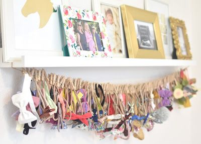 How to display baby girls headbands! Light and bright baby girl nursery.