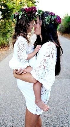 sweet pregganat photos | Pregnant Mom & Daughter flower crowns | Home Sweet Home