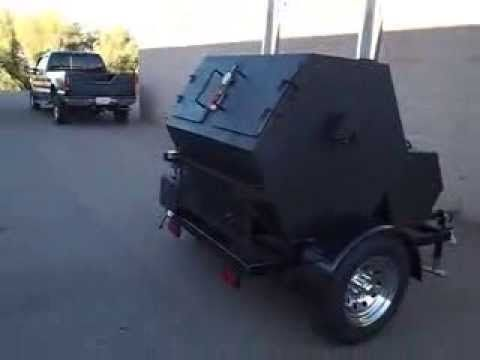 Rotisserie Smoker Trailer Mounted AZ BBQ Outfitters - YouTube