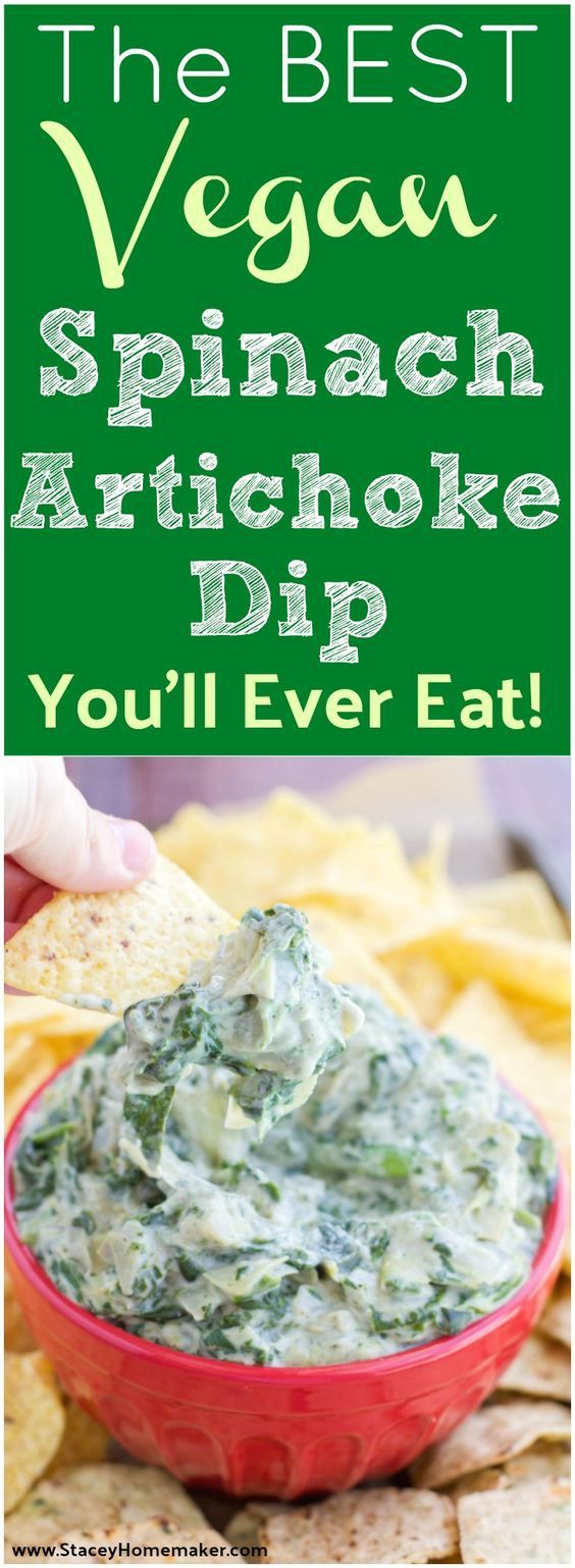 I make this vegan spinach artichoke dip for every special event or party that I go to! Everyone loves it! It's so creamy and flavorful, it's the best spinach artichoke dip I've ever had and I still can't believe it's vegan! Dairy-free, soy-free, gluten-free. #recipes