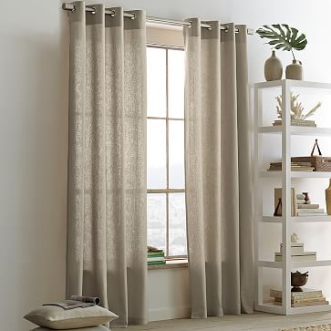 linen cotton grommet curtain flax westelm