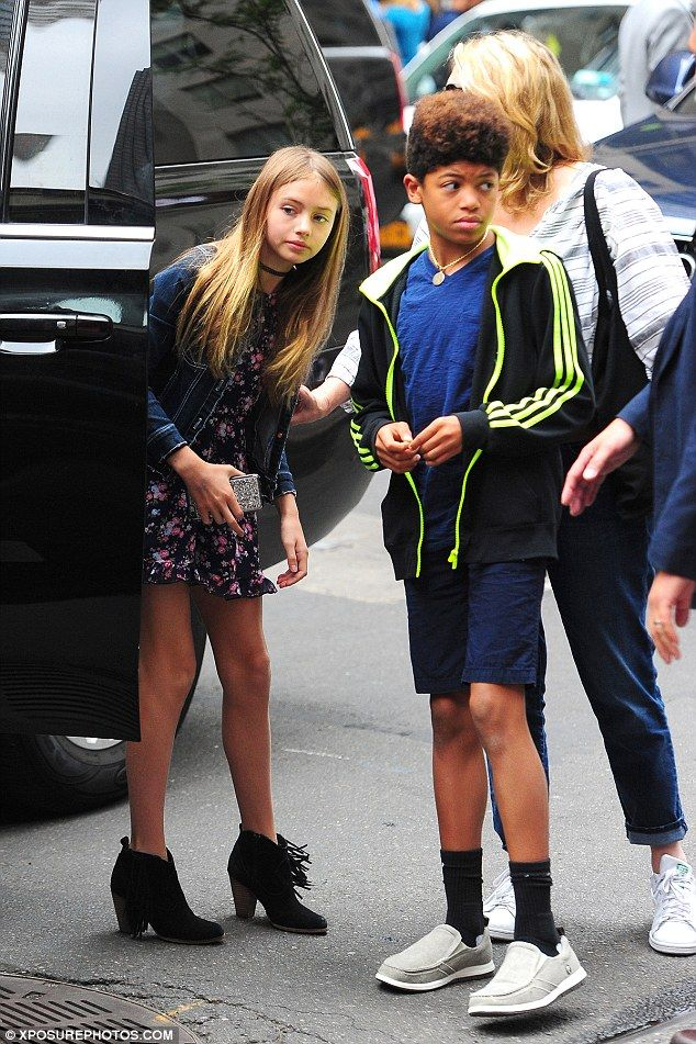 Model in training! Leni Samuel showed she's every inch her famous mother Heidi Klum's daughter as she donned a pair of heeled booties on an outing with her family in New York on Thursday