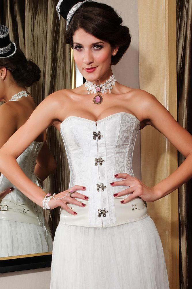 Brocade Steampunk Corset with Clasp Fasteners White
