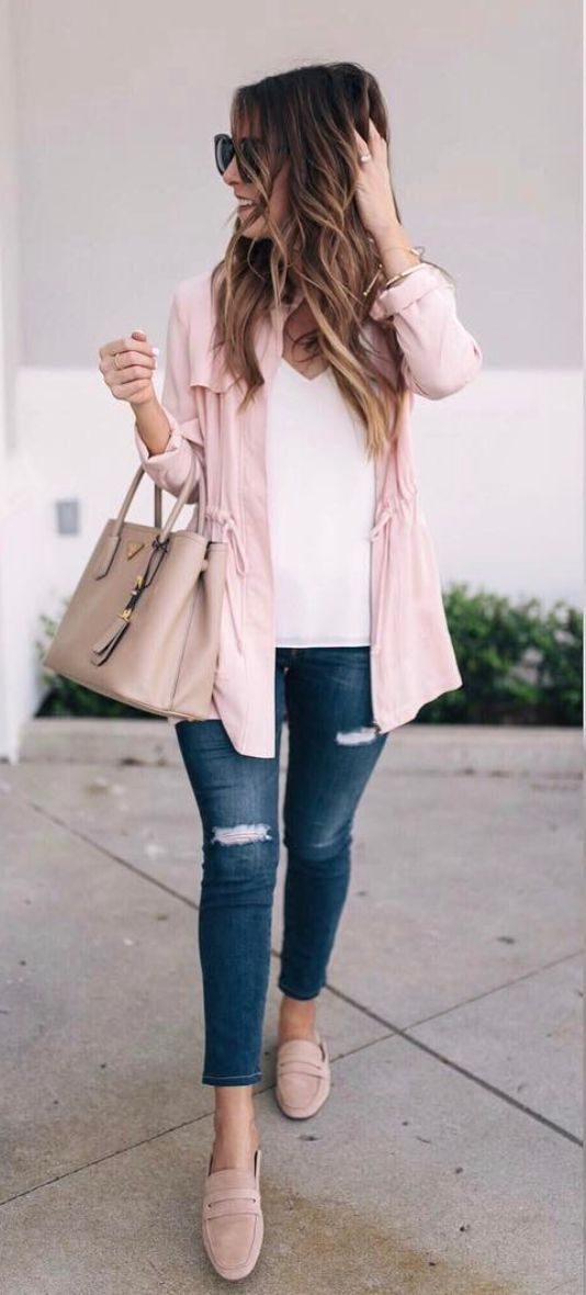 Pink jacket and the jeans!