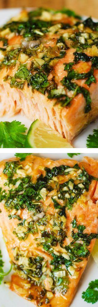 Get the recipe ♥ Cilantro Lime Honey Garlic Salmon @recipes_to_go