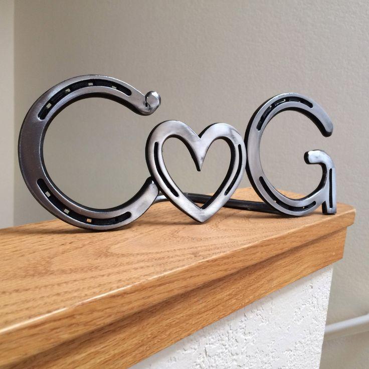 Personalized horseshoe heart couple sign by BlacksmithCreations, $129.00