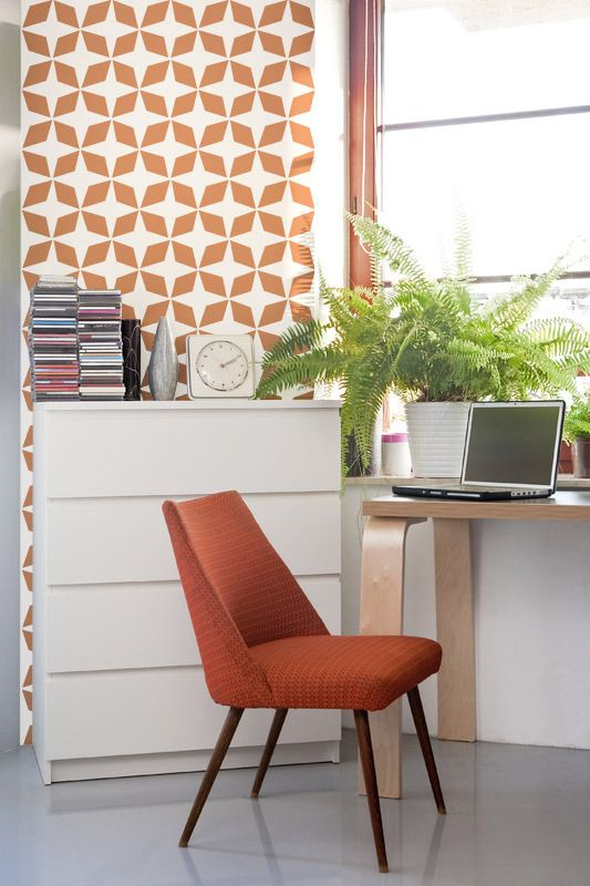 This pattern is a great backdrop to any Mid-Century Modern room.