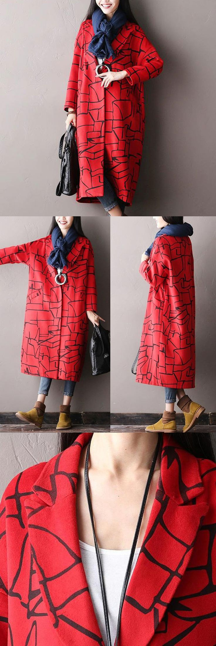 Red Long Sleeve Abstract  pattern Jacket.It's made of wool materials