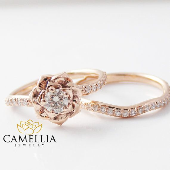 14k rose gold diamond engagement ring set rose by camelliajewelry - Flower Wedding Rings