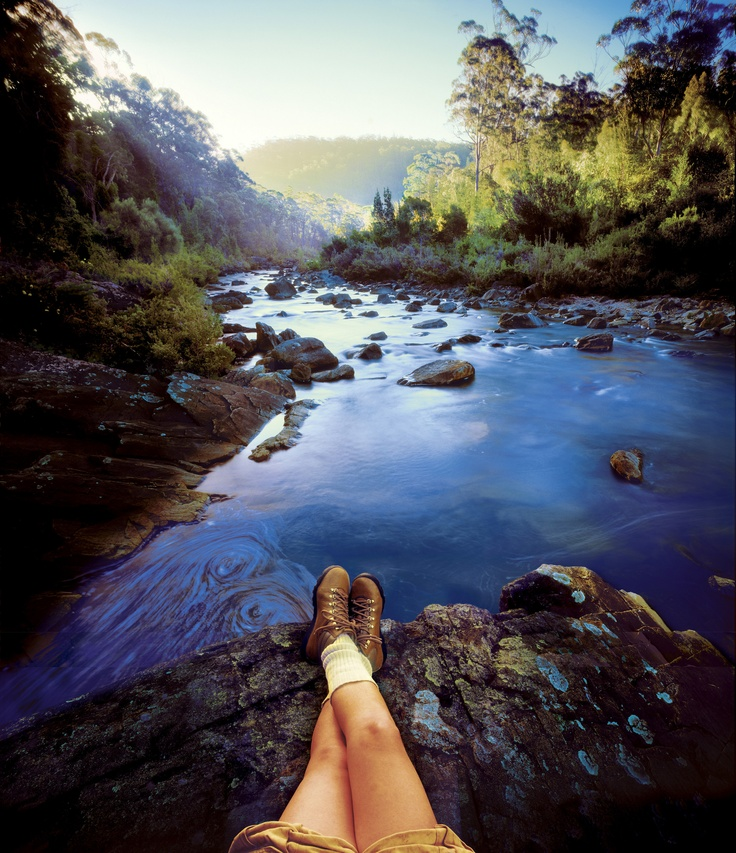 Relaxing on the Gordon River, Tasmania