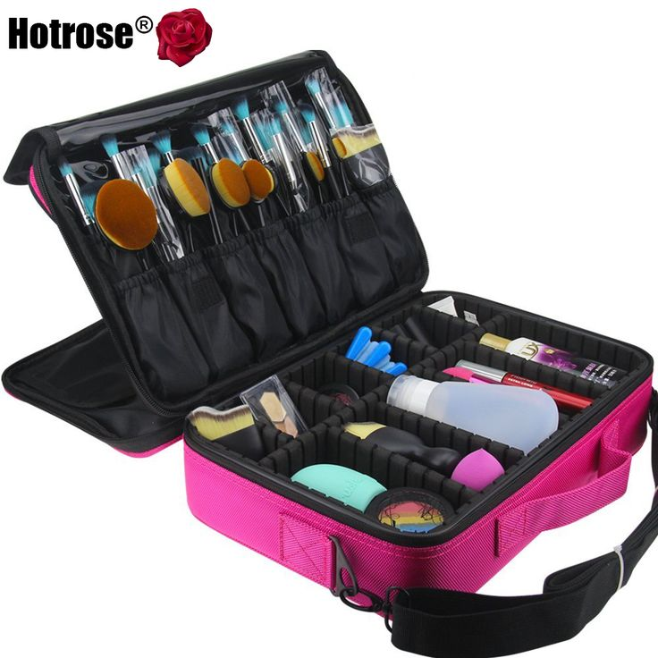 Amazing Price Tracker And History Of Hotrose Women Professional Makeup Organizer  Kit Pink Cosmetic Case Large Capacity Storage Bag Free Disassembly Makeup  Suitcases