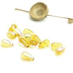 10 perles gouttes en verre ambre - 10*5 mm - . perles gouttes en verre couleur miel . perles gouttes en verre light topaze.